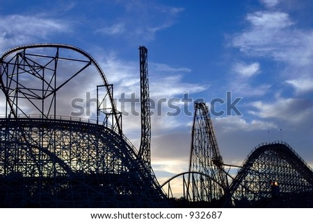 Silhouettes 3 of Roller Coasters - stock photo
