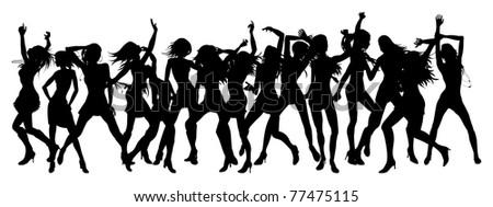 Silhouettes of sexy beautiful women dancing - stock photo
