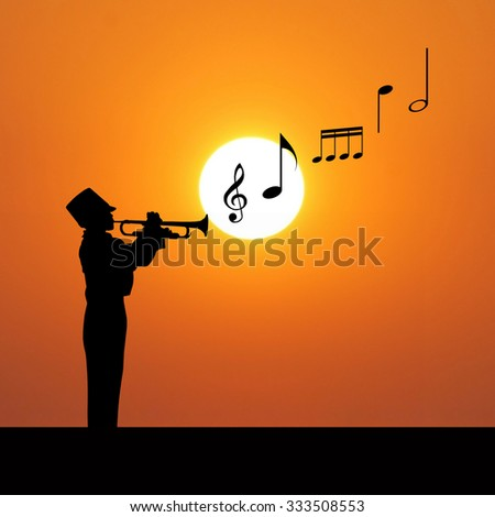 Silhouettes of trumpet player and notes on sunset background - stock photo