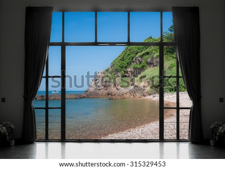 Silhouettes of window with a curtain, sea view background - stock photo