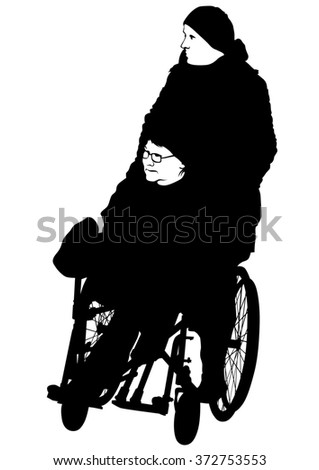 Silhouettes woman in wheelchair on white background - stock photo