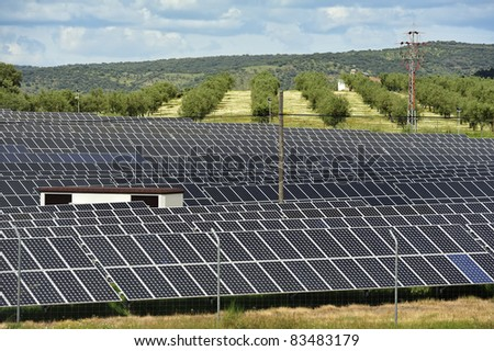 silicon solar energy batteries on rural place - stock photo