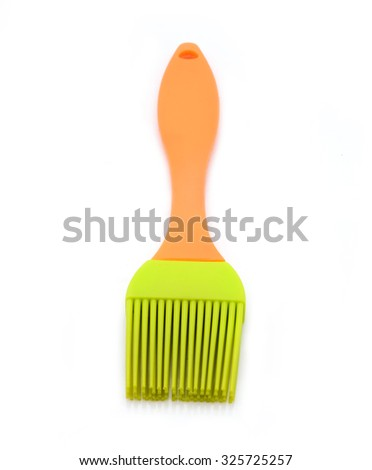 silicone pastry brush isolated on white - stock photo
