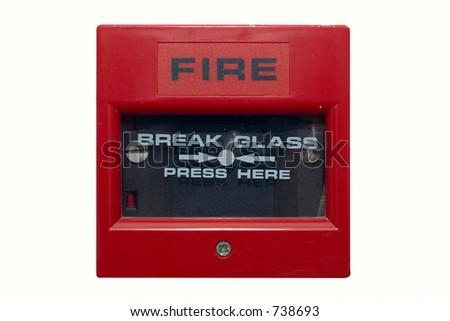 Silightly damaged fire alarm panel. White isolated - stock photo