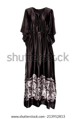 silk black dress on a white background - stock photo