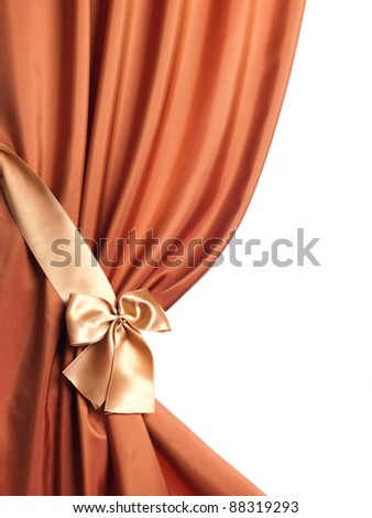 Silk Curtain over white - stock photo
