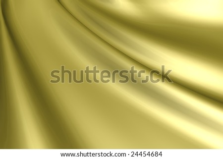 Silk gold satin fabric - stock photo