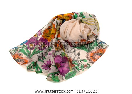 Silk Women's Scarf color. Isolate on white. - stock photo