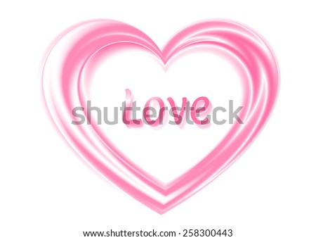 Silken pink heart with title Love on white background - stock photo