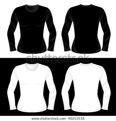 Silkscreen series. Black and white realistic ladies' blank long sleeve t-shirt templates (front and back). - stock photo