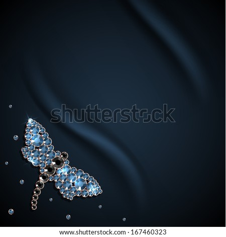 Silky background with butterfly diamond decoration - raster version - stock photo