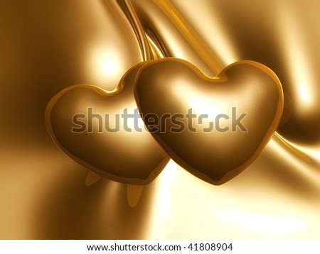 Silky gold metal abstract and hearts illustration - stock photo