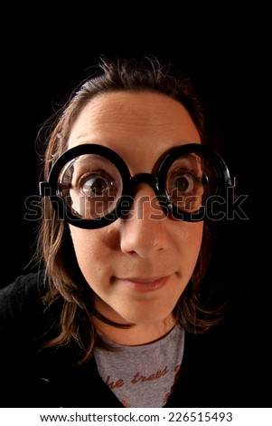 silly and crazy young woman - stock photo