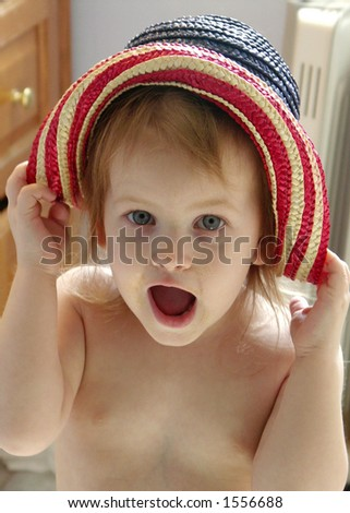 Silly Girl in Hat - stock photo