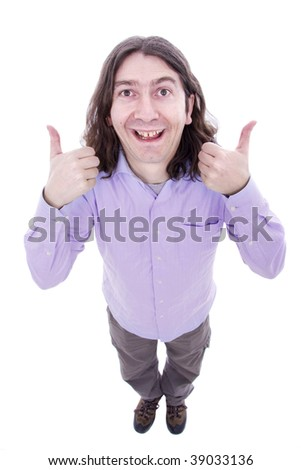 Silly man posing isolated over white background - stock photo