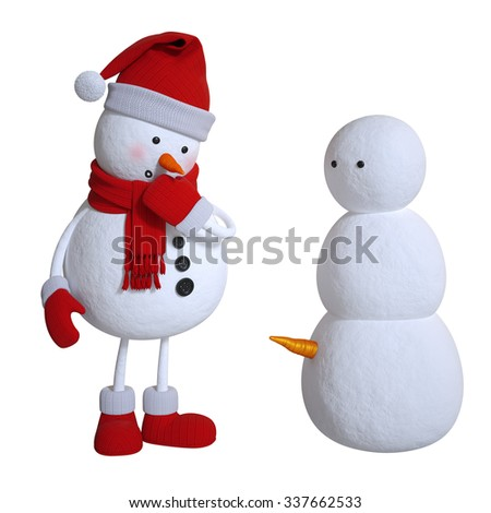 silly snowman, 3d illustration isolated on white background - stock photo