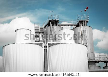 silos, blue sky - stock photo