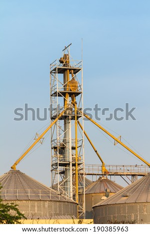 Silos with bucket elevator and screw conveyors installed on top of the silo roof, evening sunlight - stock photo