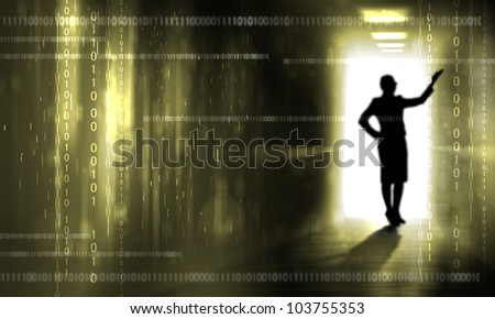 Silouhette of a person against digital background - stock photo