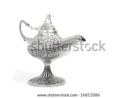 silver aladdin's magic lamp, isolated on white - stock photo