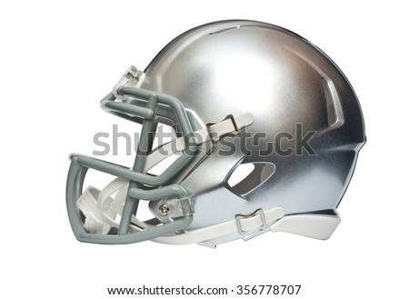 Silver american football helmet isolated on white background with clipping path - stock photo