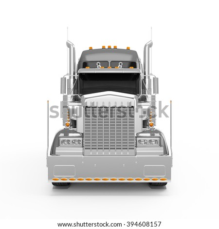 Silver american truck front view isolated on white background - stock photo
