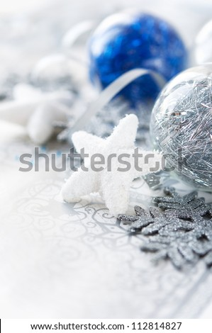 Silver and blue xmas decoration. Merry christmas. - stock photo