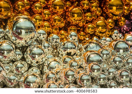 Silver and gold Christmas Balls decorate for Background and template or web design - stock photo