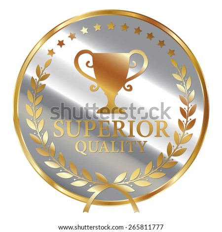 Silver and Gold Metallic Superior Quality Label, Sticker, Banner, Sign or Icon Isolated on White Background - stock photo