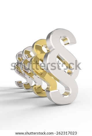 Silver and gold paragraph sign  isolated over white. Computer generated 3D photo rendering. - stock photo