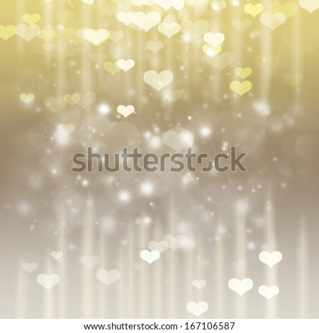silver and gold valentines day background with hearts and sparkles - stock photo
