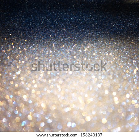 silver and golden background of defocused abstract lights - stock photo