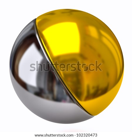 Silver and golden sphere - stock photo