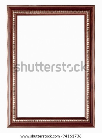 Silver and wood frame on white background - stock photo