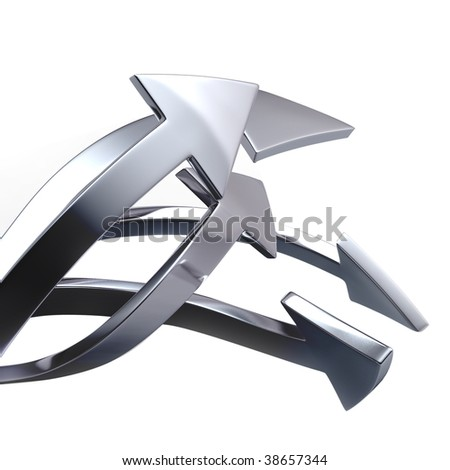 Silver arrows on white background isolated - stock photo