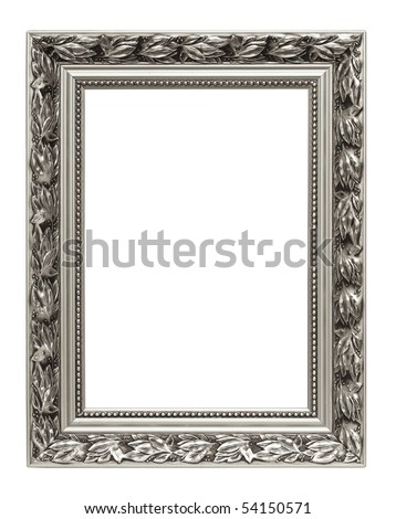 Silver art frame isolated on white background - stock photo