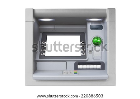 Silver ATM with Blank Screen isolated on white background - stock photo