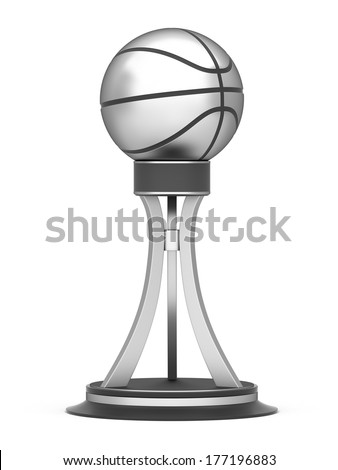 Silver award basketball trophy cup isolated on a white background - stock photo