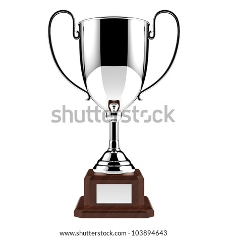 Silver award trophy isolated on white background with clipping path. - stock photo