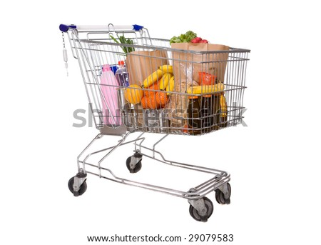 silver basket on white background - stock photo