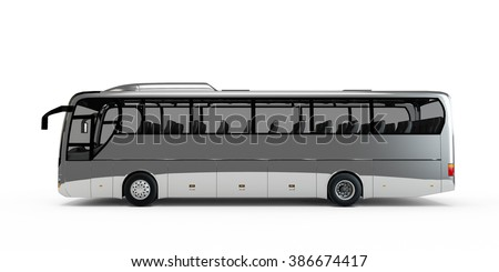 Silver big tour bus isolated on white background - stock photo