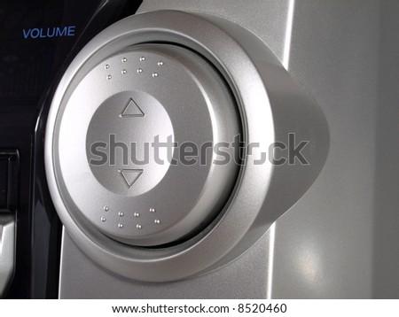 Silver Boom Box Stereo volume button - stock photo