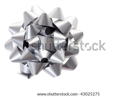 Silver bow isolated on white background - stock photo