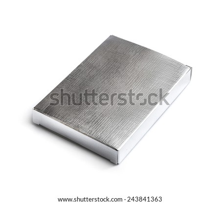 silver box isolated on a white background - stock photo