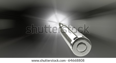 Silver bullet flying - stock photo