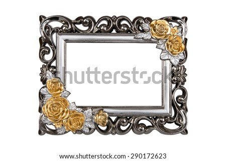 Silver carved picture frame with rose decor, clipping path included. - stock photo