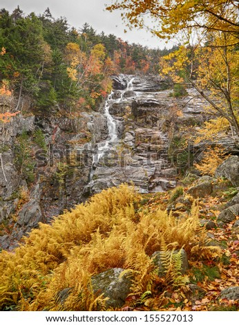 Silver Cascade Falls in New Hampshire in Autumn - stock photo