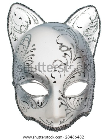 silver cat carnival venetian mask isolated over white with clipping path - stock photo