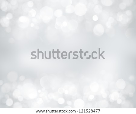Silver christmas background with bokeh lights - stock photo