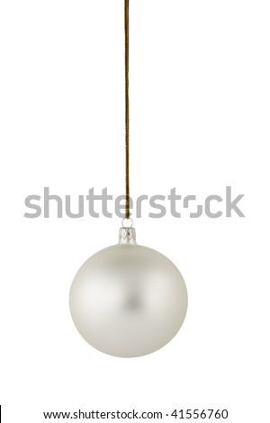 Silver Christmas ball hanging on the gold string. Clipping path included. - stock photo